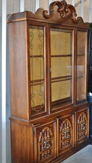 Vintage Lighted China Cabinet/hutch photo