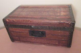 Antique 1800s Miniature Handmade Salesman Sample Wood Leather Iron Chest Trunk photo