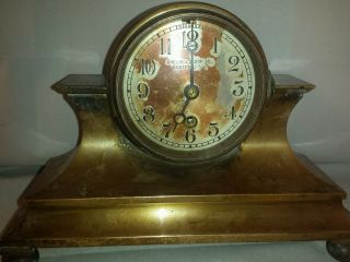 Rare Chelsea Brass Desk Clock 1910 - 1914 Running photo