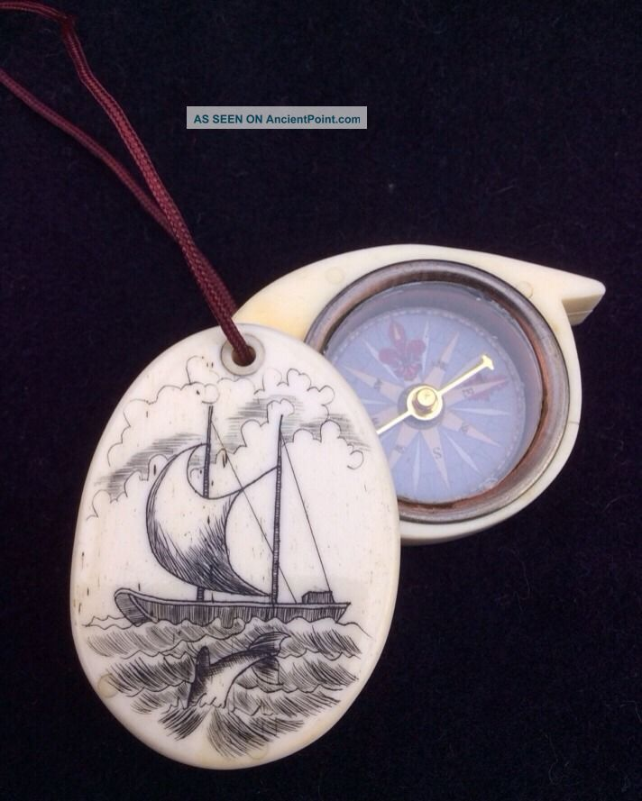 Scrimshaw Bone Nautical Compass Ship Dolphins Necklace 2 Sided Opens - Vintage Scrimshaws photo