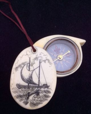 Scrimshaw Bone Nautical Compass Ship Dolphins Necklace 2 Sided Opens - Vintage photo
