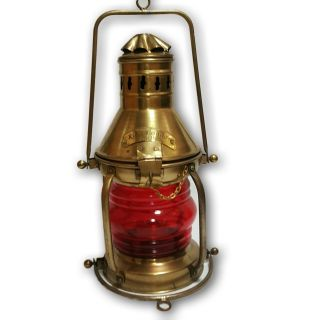 Antique Lantern Ship ' S Kerosene Lamps & Lighting Vintage Red Glass V15usf Ml 04 photo