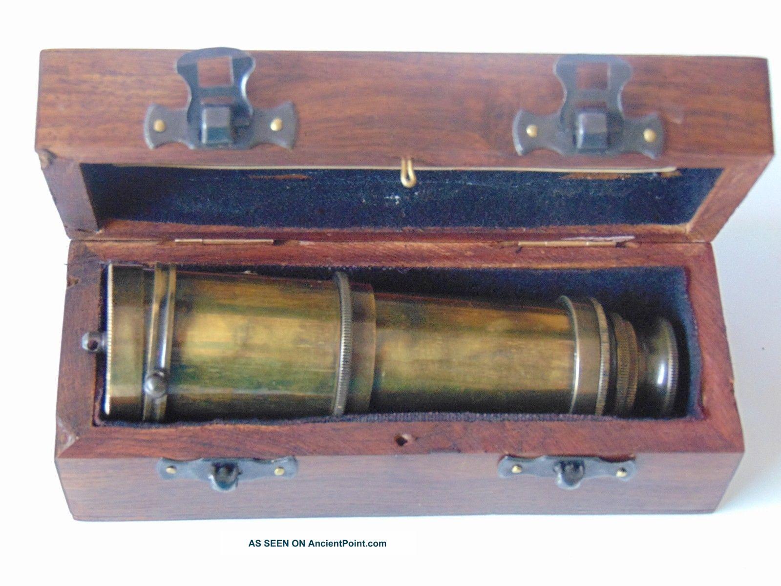 Brass Antique Nautical Vintage Telescope - Handheld Telescope With Wooden Box Telescopes photo
