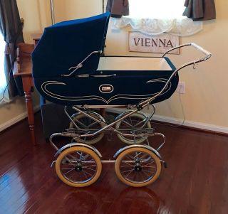 Vintage Italian Peg Perego Pram,  Baby Stroller,  Carriage.  Elegant Navy Blue. photo