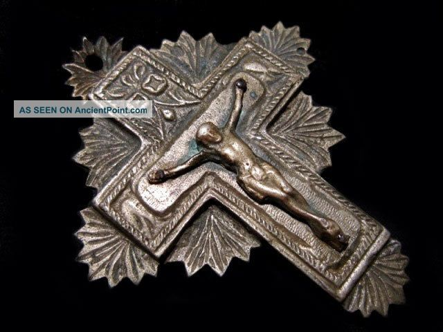 Post Byzantine Pectoral Reliquary Orthodox Silver Cross,  Relic Is Inside, Byzantine photo