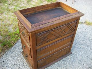 Antique Oak 3 - Drawer Aquarium Terrarium Base C.  1870 ' S photo