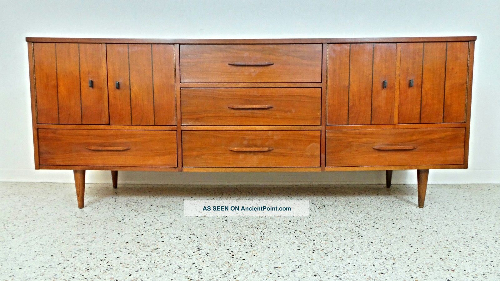 Mid Century Danish Modern Long Low Walnut Credenza Sideboard Hutch Server Post-1950 photo