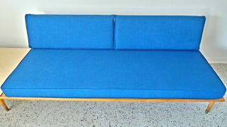 Mid Century Modern Long Low Blue Tweed Floating Platform Sofa Pearsall Nelson photo