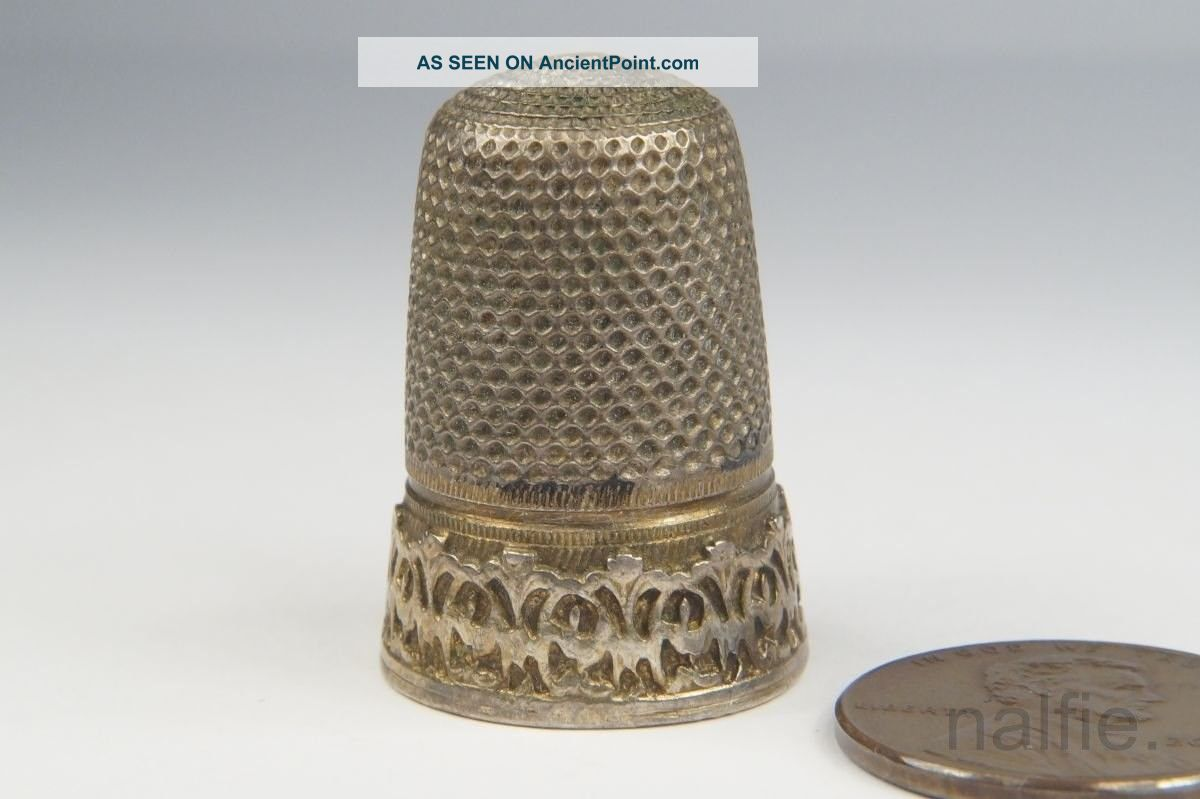 Antique European Silver Sewing Thimble C1800 ' S $1 Thimbles photo