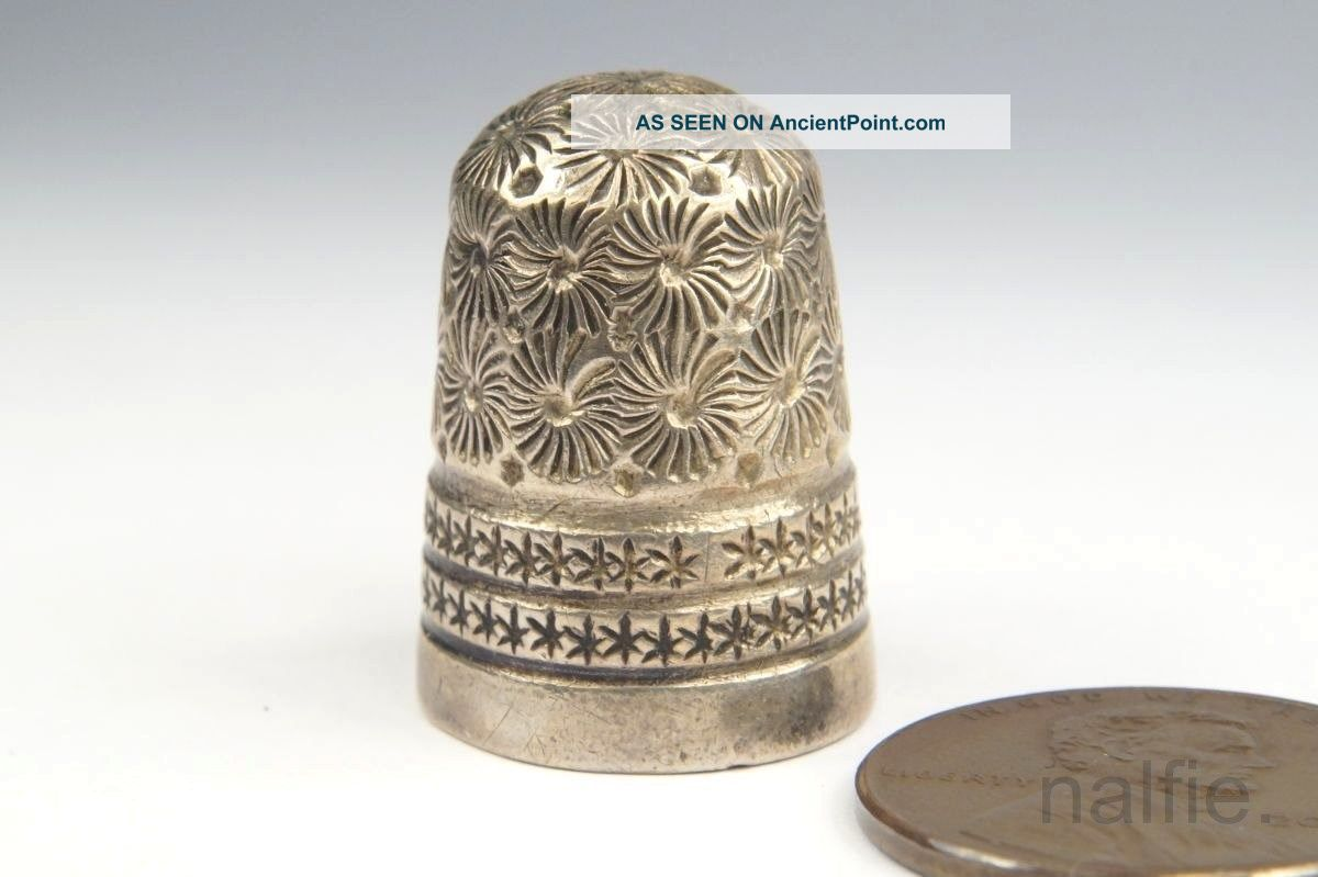 Antique English Edwardian Sterling Silver Thimble By Charles Horner C1901 Thimbles photo