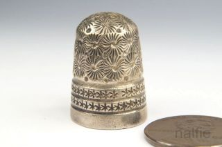 Antique English Edwardian Sterling Silver Thimble By Charles Horner C1901 photo