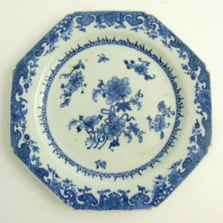 18th Century Chinese Porcelain Blue And White Octagonal Porcelain Plate photo