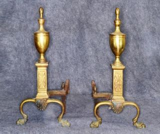 Andirons Fireplace Cast Solid Brass Claw Feet Large 18 In Antique 1800 photo