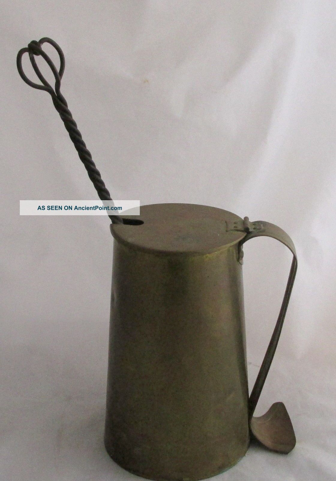 Antique Cape Cod Shop Brass Hanging Fire Starter Stone Canister & Pot Hearth Ware photo