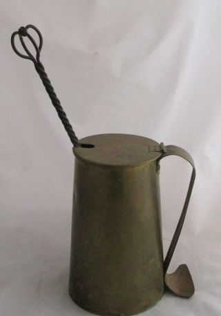 Antique Cape Cod Shop Brass Hanging Fire Starter Stone Canister & Pot photo