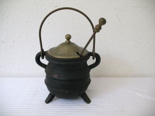 Cast Iron Fire Starter Smudge Pot Antique 3 Leg Brass Handle Lid Wand Pumice photo