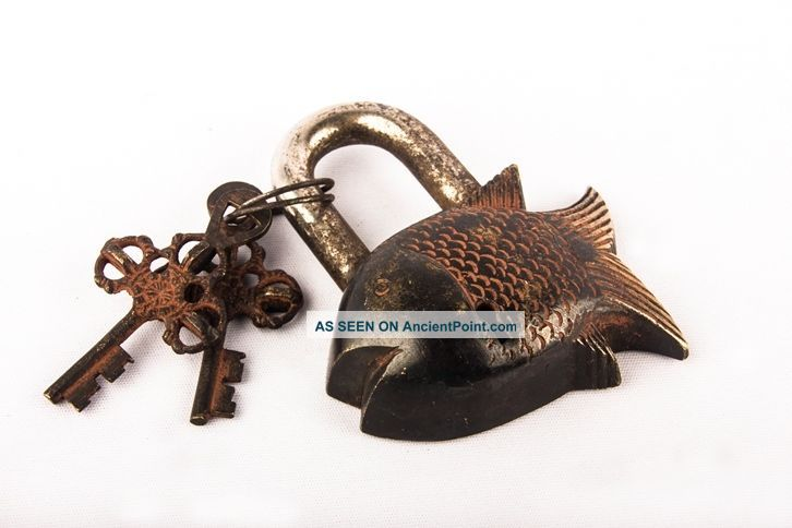 Antique Vintage Art Brass Fearless Fish Tibet Buddhist Padlock Locks & Key Bl 09 Other Maritime Antiques photo