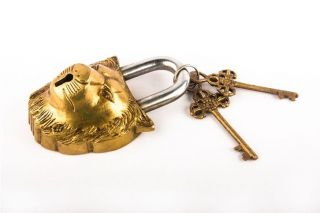Decorative Lion Padlock Antique Tibet Buddhist Old Style Heavy Brass Locks Bl 05 photo
