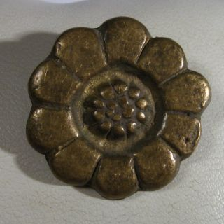 Vintage Antique Bronze Flower Application Medieval Or Post Medieval /997 photo