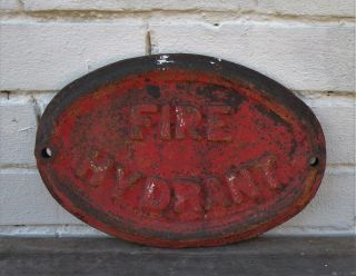 Reclaimed Cast Iron Metal Fire Hydrant Plaque / Sign 11¾