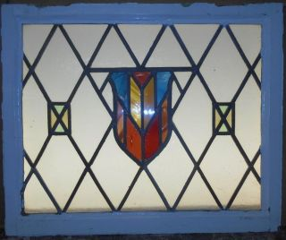 Mid Sized Old English Leaded Stained Glass Window Stunning Shield 25