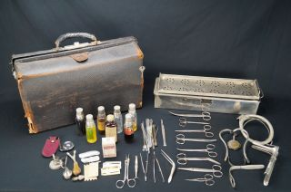 Rare Antique Doctor Obstetrician Bag With Medical Instruments & Sterilizing Box photo