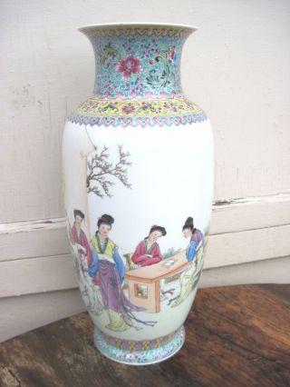 Antique Large Chinese Famille Rose Calligraphy Vase Court Scene? photo