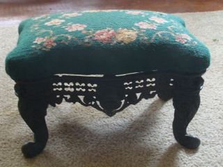 Antique Style Victorian Cast Iron Ornate Foot Stool Ottoman Bench Needlepoint photo