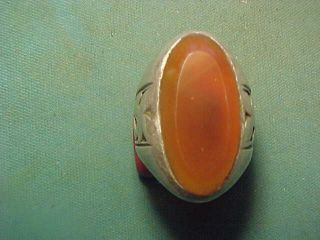 Near Eastern Hand Crafted Solid Silver Ring With Carnelian Stone Circa 1700 - 1900 photo