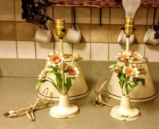 Vintage Italian Toleware Lamps Pair Flowers Table Shabby Chic Cottage Chippy photo