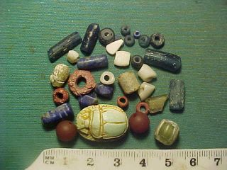 30,  Ancient Beads Circa 1000 Bc - 400 Ad,  Egyptian Scarab Amulet photo