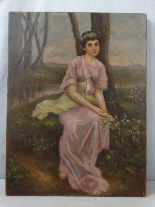 19thc Antique Victorian Era Lady & Flowers In Forest Outdoor Portrait Painting photo