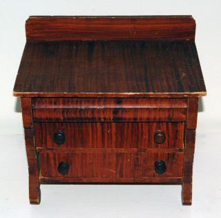 Primitive Antique Childs Toy Dresser Wood Grain Painted 3 Drawers Empire photo
