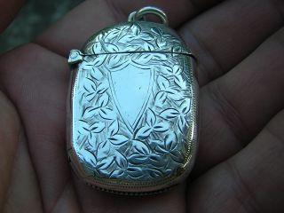 Antique Victorian British English Sterling Silver Vesta Case Match Holder Matchs photo