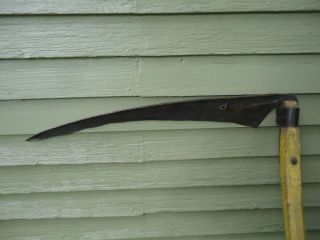 Early Vintage Hand Scythe Grim Reaper Old Mustard Paint Mortise & Tenon Handles photo