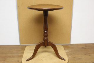 Rare 18th C Ct Queen Anne Cherry Candlestand Round Top In Old Grungy Surface photo