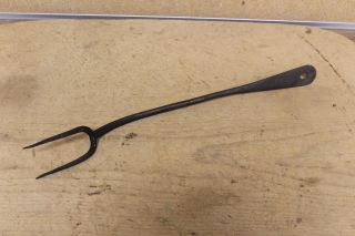 A Great Early 18th C Wrought Iron Two Tine Tasting Fork In Old Surface photo