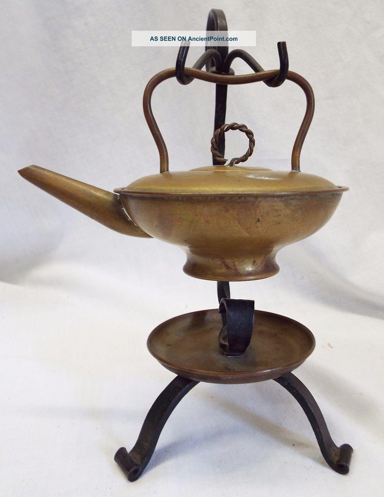 Unusual Antique Brass & Cast Iron Miniature Kettle Fire Starter Hearth Ware Hearth Ware photo