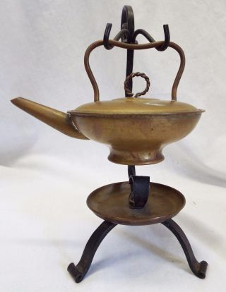 Unusual Antique Brass & Cast Iron Miniature Kettle Fire Starter Hearth Ware photo