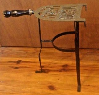 Fireplace Trivet Stand Vintage 1920 ' S Hand Forged Brass And Wrought Iron photo