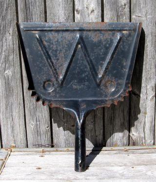 Vintage Primitive Metal Dust Pan White.  Black W Rust Farmhouse Fun Tray Display photo