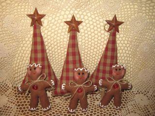 Handmade Primitive Christmas Fabric Tree Gingerbread Ornies Bowl Fillers Decor photo