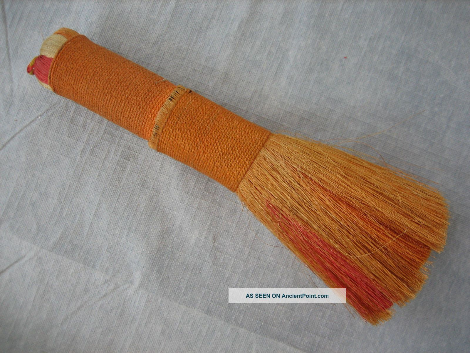 Vintage Handmade Wound Multicolor Orange Whisk Broom - 9.  5 Inch Hearth Ware photo