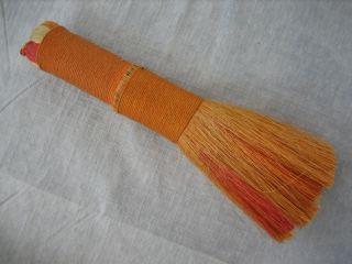 Vintage Handmade Wound Multicolor Orange Whisk Broom - 9.  5 Inch photo