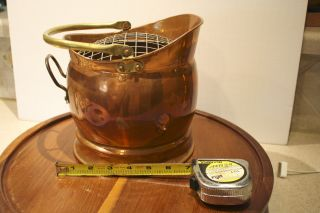 Antique Brass And Copper Fireplace Scuttle,  Coal Ash Bucket photo
