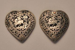 Antique Fine Islamic Middle Eastern Pierced Silver Heart Buckle Men Horses photo