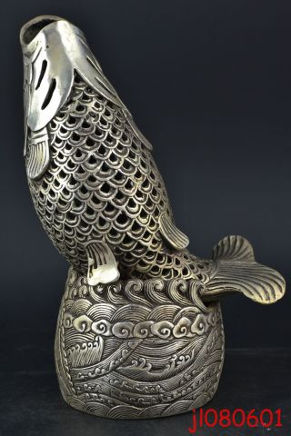 Collectible China Old Copper Silvering Hollow Out Fish Relievo Incense Burner photo