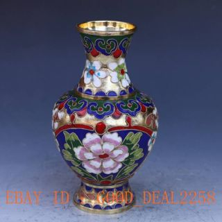 Exquisite Chinese Cloisonne Gilt Hand - Carved Flower Vases photo