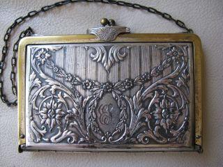 Antique Victorian Art Nouveau Silver Leather Card Case Coin Purse Duplex 1912 3 photo