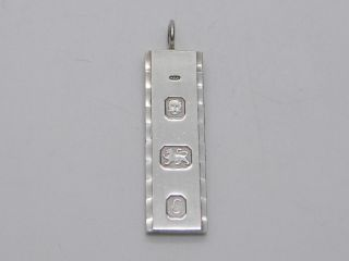 1979 - Solid Sterling Silver Hallmarked Ingot Pendant Fob - Hdm - London photo